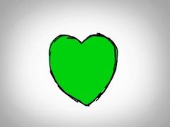 Heart  - Hand Drawn - Caucasian Hand - green screen - white - SD Stock Footage