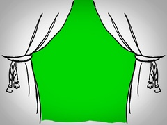 Curtains - Hand Drawn - Caucasian Hand - green screen - white - SD Stock Footage