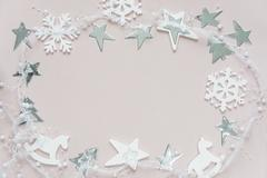 White-pink Christmas composition Stock Photos