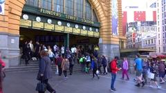 Melbourne, Flinders Station, Front, People Stock Footage