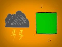 Lightning  - Hand Drawn - Caucasian Hand - green screen - yellow - SD Stock Footage