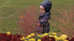 A baby girl beating bushes on a flower bed with the palm of her hand. Red Stock Footage