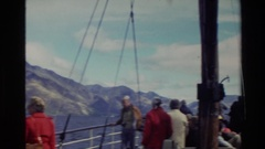 1982: peoples in a boat at the lake,enjoy the nature season NEW ZEALAND Stock Footage
