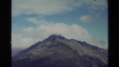1982: a mountain range being viewed by a boat NEW ZEALAND Stock Footage