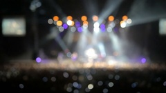 Professional lighting equipment on stage during a performance of popular rock Stock Footage