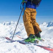 Freeride skier on the top of the mountain Stock Photos