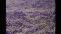 1982: boat tour of a rugged coastline with a beautiful waterfall NEW ZEALAND Stock Footage