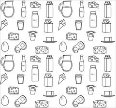 Dairy product seamless pattern. Modern, line, outline style. Milk products .. Stock Illustration