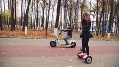Modern eco transport: gyroscooter and electric bike Stock Footage