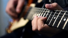 Professional Rock Musician Plays On Guitar Stock Footage