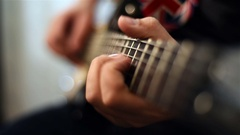 Rock Musician Plays On Guitar Stock Footage