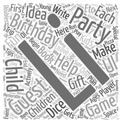 Birthday Party Ideas for Children Ages 2 12 text background wordcloud concept Stock Illustration