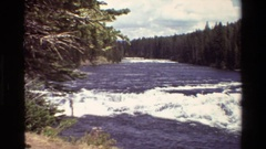 1980: river with increasing gradient and displays two sections of whitewater Stock Footage