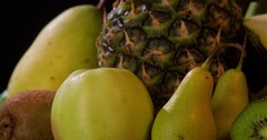 Still life green fruits rotation 4k loop video copy space. Close-up grocery food Arkistovideo