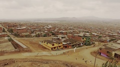 Aerial of Slums in Lima, Peru, South America Stock Footage