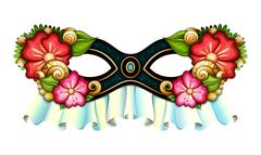 Vector Ornate Mardi Gras Carnival Mask with Decorative Flowers Piirros