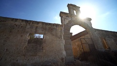 Old silk factory ruin with the sun and a lens flare in Greece (Rhodes) Stock Footage