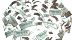 Dollars bank note flying Stock Footage