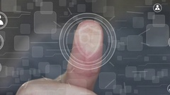 Button business shield security virus search magnifier loupe web Stock Footage