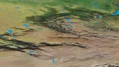 Revolution around Altay mountain range - masks. Topographic map Stock Footage