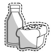 Isolated bread and milk design Stock Illustration