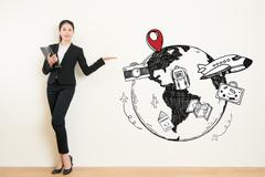 Travel agency business woman showing presenting gesture Stock Photos