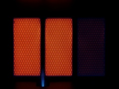 Warm and warming ceramic panel at gas heater Stock Footage