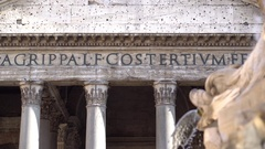 Facade of Pantheon in Rome Stock Footage