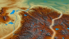 Glide over Altay mountain range - glowed. Relief map Stock Footage
