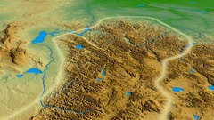 Glide over Altay mountain range - glowed. Colored physical map Stock Footage