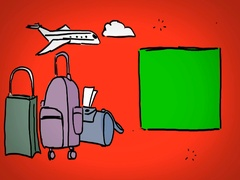 Luggages  - Hand Drawn - Caucasian Hand - green screen - red - SD Stock Footage