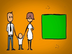 Family  - Hand Drawn - Caucasian Hand - green screen - yellow - SD Stock Footage