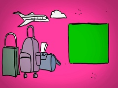 Luggages  - Hand Drawn - Caucasian Hand - green screen - pink - SD Stock Footage