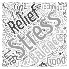 Balance Your Life With Stress Relief Techniques text background wordcloud con Stock Illustration