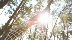 Empty hammock hanging on trees in summer pine wood. Stock Footage