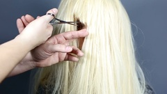 Blonde Woman Getting Haircut or Make Over Stock Footage