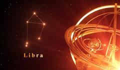 Zodiac Constellation Libra And Armillary Sphere Over Red Background Stock Illustration