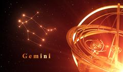 Zodiac Constellation Gemini And Armillary Sphere Over Red Background Stock Illustration