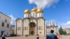 :Uspenski Cathedral with tourists in front in Moscow, Russia Stock Footage