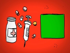Medicine  - Hand Drawn - Caucasian Hand - green screen - red - SD Stock Footage