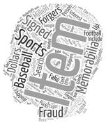 Are Your Sports Memorabilia Faux Or text background wordcloud concept Stock Illustration