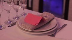 Dishes at the wedding. Wedding dinner design Stock Footage