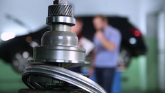 Car service background. auto parts and people Stock Footage