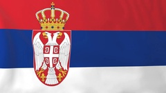 Flag of Serbia waving in the wind, seemless loop animation Stock Footage