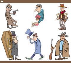 Wild west people cartoon set Stock Illustration