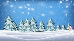 Snowman pulled sleigh full of present in christmas winter landscape Stock Footage