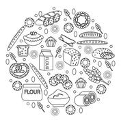Bakery products icon set in a round shape, line, outline, doodle style.  of.. Stock Illustration