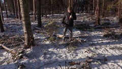 Lumberjack with ax in destroyed forest Stock Footage