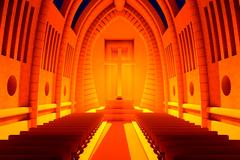 3D rendered Illustration of a Cathedral Interior Stock Illustration