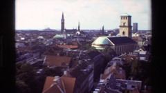 1982: up top view of rooftops of buildings of different heights DENMARK Stock Footage